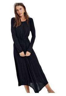 Vestido Midi Assimetrico Preto