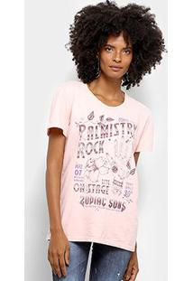 Camiseta Manga Curta Colcci Zodiac Sons Feminina - Feminino-Rosa