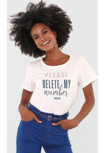Camiseta Colcci Aplicação Lettering Off-White - Kanui