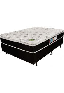 Cama Box Casal 68Cmx138Cmx188Cm Molas Ensacadas Pillow Top Aspen Luckspuma Colchões Branco/Preto