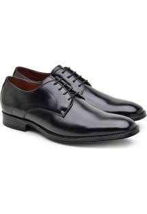 Sapato Social Derby Jacometti Masculino Couro Formal Liso Preto 42 - Masculino-Preto