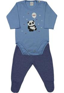 Pijama Infantil Ano Zero Meia Malha E Poá Híbrido Panda Bonjour Masculino - Masculino-Azul