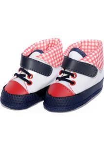 Tênis Cano Alto Xadrez Sapatinhos Baby Azul-Marinho E Vermelha