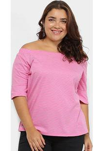 Blusa Plus Size Lecimar Listrada Feminina - Feminino-Pink