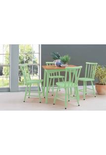 Mesa De Jantar 4 Cadeiras Mimo 80Cm Verniz Jatobá E Laca Verde Sálvia