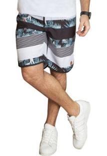 Bermuda Banho Masculina - Masculino-Branco
