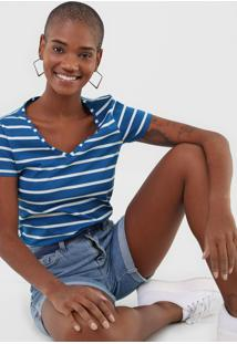 Camiseta Malwee Listrada Azul - Azul - Feminino - Algodã£O - Dafiti