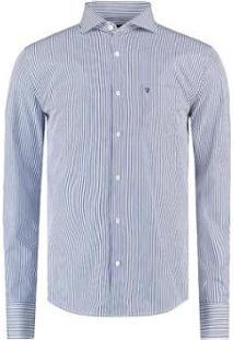 Camisa Vr Listrada Masculina - Masculino-Azul