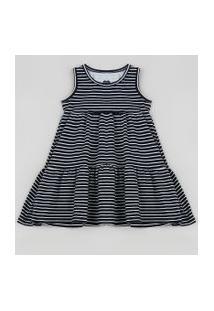 Vestido Infantil Listrada Sem Manga Preto