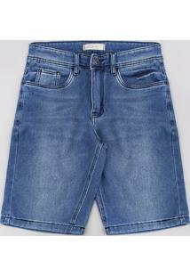 Bermuda Jeans Infantil Em Moletom Com Bolsos Azul Médio