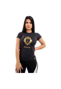Camiseta Feminina Poliamida Preta Zaiden Leão Dourado
