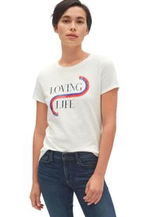 Camiseta Gap Loving Life Off-White - Kanui