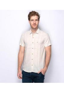 Camisa Social Teodoro George Linho Material Nobre Masculina - Masculino-Branco+Bege