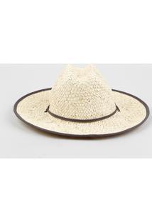Chapéu De Praia Feminino Em Palha Trançada Com Cordão Bege - Único