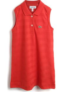 Vestido Lacoste Kids Liso Vermelho - Tricae
