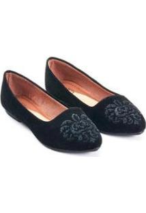 Sapatilha Slipper Camurça Mizzi Shoes Bordado Feminina - Feminino-Preto