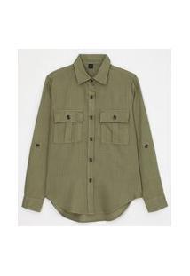 Camisa Manga Longa Lisa Com Botões Tartaruga E Bolsos   Marfinno   Verde   Gg