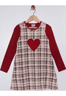 Vestido Com Blusa Infantil Para Menina - Bege/Vermelho