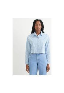 Camisa Em Jeans Com Bordado De Margarida | Blue Steel | Azul | M