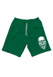 Bermuda Maromba Fight Wear Moletom Skull Com Bolsos Masculina - Masculino-Verde