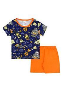 Pijama Infantil Masculino Camiseta Manga Curta Azul Marinho Robô E Shorts (4/6/8) - Kappes - Tamanho 8 - Azul Marinho,Laranja
