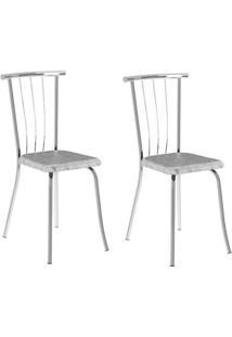 Conjunto 2 Cadeiras Tubo Cromado Floral Branco Carraro