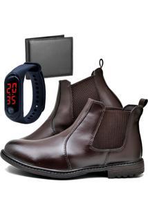 Botina Bota Fashion Com Carteira E Relógio Led Fine Masculino Dubuy 258El Marrom - Kanui