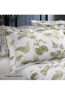 Jogo De Cama Tropical King Size- Branco & Verde- 4Pã§Sultan
