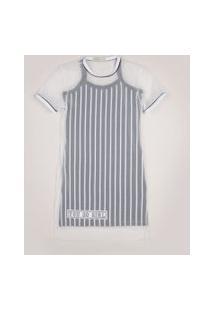 Vestido Juvenil Com Sobreposição De Tule Estampado Listrado Manga Curta Cinza