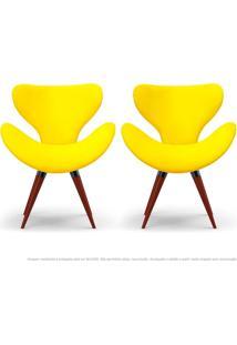 Kit De 02 Poltronas Decorativas Cadeiras Egg Amarela Com Base Fixa De Madeira