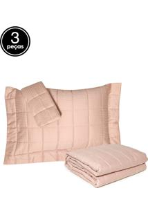 Kit Colcha Queen 300 Fios Damask Stripes 3Pçs Rosa