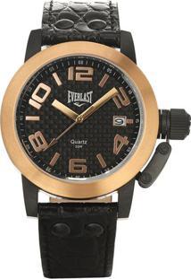 Relógio Analógico E130- Rosê Gold & Preto- Everlasteverlast Relógios