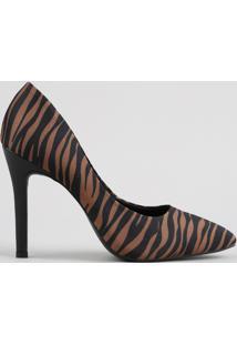 Scarpin Feminino Oneself Bico Fino Estampado Animal Print Tigre Caramelo