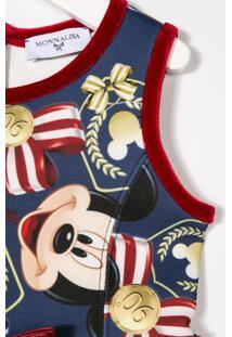 Monnalisa Vestido Estampado 'Mickey Mouse' - Azul