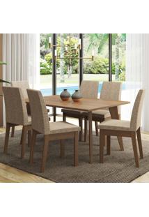 Conjunto Sala De Jantar Madesa Bruna Mesa Tampo De Madeira Com 6 Cadeiras Marrom - Marrom - Dafiti