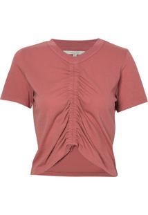 Camiseta Rosa Chá France Rosa Malha Algodão Rosa Feminina (Whitered Rose, P)