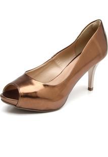 Peep Toe Dafiti Shoes Metalizado Cobre