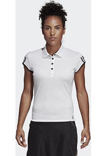 Camisa Polo Adidas Club 3 Stripes Feminina - Feminino-Branco