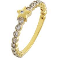 Anel Narcizza Semijoias Cravejado Com Zircônia Cristal E Detalhe Em Estrela  Ouro 480c6751a7