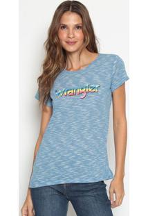 Camiseta Com Inscrição Da Marca Mescla- Azul & Brancawrangler