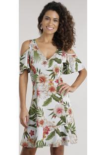 Vestido Open Shoulder Estampada Floral Com Recortes Off White