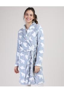 Roupão De Plush Feminino Estampado De Urso Azul Claro