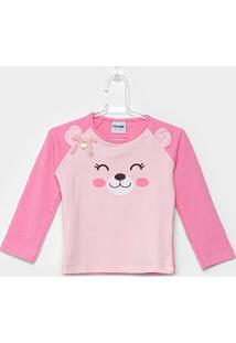 Camiseta Infantil Fakini Ursinha Manga Longa Feminina - Feminino-Rosa