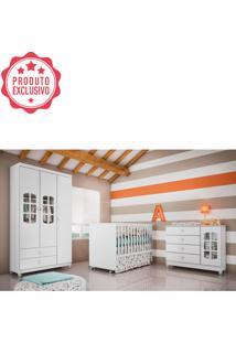Dormitório Gabi Guarda Roupa 3 Portas Cômoda Berço Gabi Branco Carolina Baby