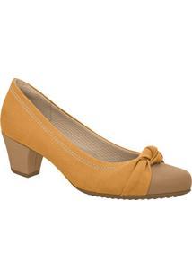 Sapato Com Nó- Marrom Claro & Marrom- Salto: 5Cmpiccadilly