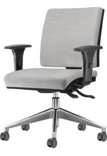 Cadeira Simple Com Braco Assento Courino Cinza Claro Base Aluminio Piramidal - 54930 Sun House