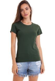 Camiseta Feminina Joss Stone Premium Verde Militar Lisa