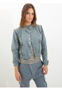 Jaqueta Bobô Charlotte Jeans Azul Feminina (Cinza Claro, Gg)