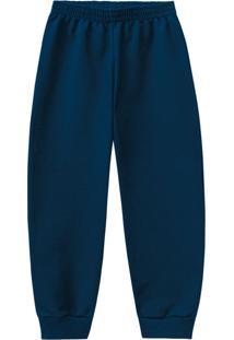 Calça Azul Marinho Jogging Em Moletom Menino