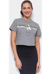 Camiseta Colcci Cropped Disney Mickey Mouse Feminina - Feminino